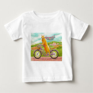 Orange Cat on a Purple Bicycle Baby T-Shirt