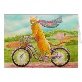 Orange Cat on a Purple Bicycle Card