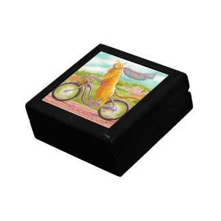 Orange Cat on a Purple Bicycle Gift Box