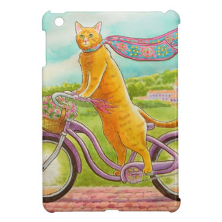 Orange Cat on a Purple Bicycle iPad Mini Cases