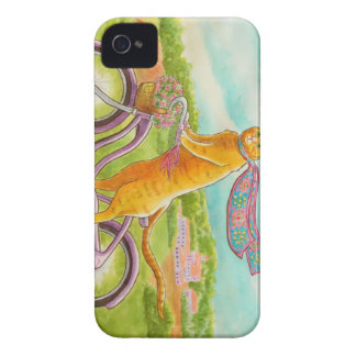 Orange Cat on a Purple Bicycle iPhone 4 Cover