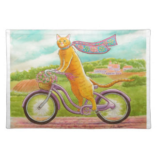 Orange Cat on a Purple Bicycle Placemat