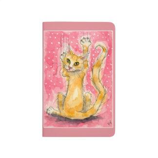 Orange cat, pink polka dots journal