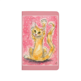Orange cat, pink polka dots journals