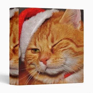 Orange cat - Santa claus cat - merry christmas 3 Ring Binder