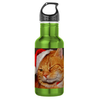 Orange cat - Santa claus cat - merry christmas 532 Ml Water Bottle