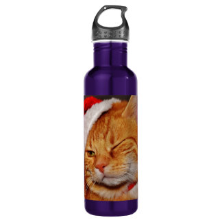 Orange cat - Santa claus cat - merry christmas 710 Ml Water Bottle