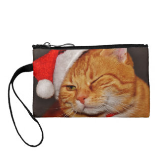 Orange cat - Santa claus cat - merry christmas Coin Purse