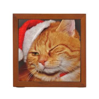 Orange cat - Santa claus cat - merry christmas Desk Organizer