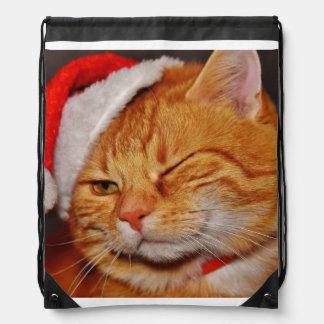 Orange cat - Santa claus cat - merry christmas Drawstring Bag