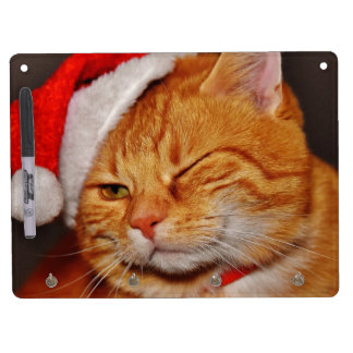 Orange cat - Santa claus cat - merry christmas Dry Erase Board With Keychain Holder