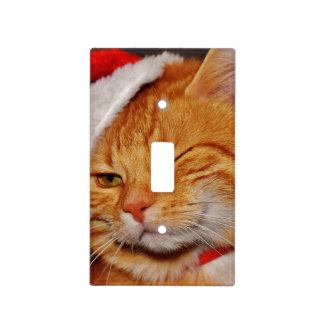 Orange cat - Santa claus cat - merry christmas Light Switch Cover