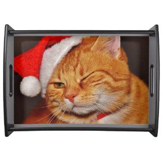 Orange cat - Santa claus cat - merry christmas Serving Tray