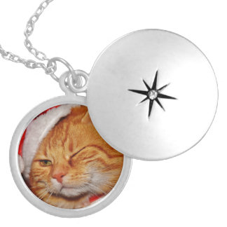 Orange cat - Santa claus cat - merry christmas Silver Plated Necklace