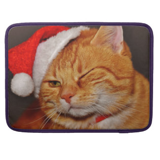 Orange cat - Santa claus cat - merry christmas Sleeve For MacBooks