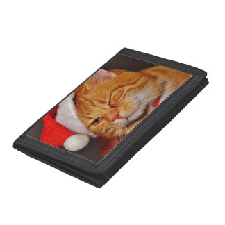 Orange cat - Santa claus cat - merry christmas Tri-fold Wallets
