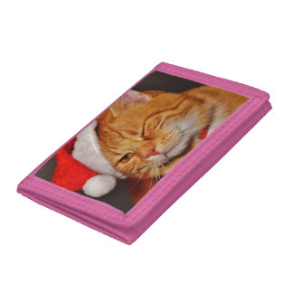 Orange cat - Santa claus cat - merry christmas Trifold Wallet