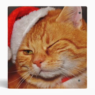 Orange cat - Santa claus cat - merry christmas Vinyl Binder