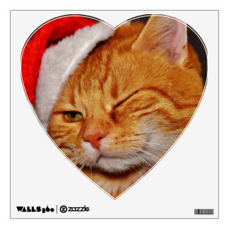 Orange cat - Santa claus cat - merry christmas Wall Decal