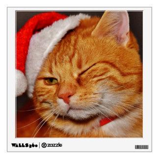 Orange cat - Santa claus cat - merry christmas Wall Sticker