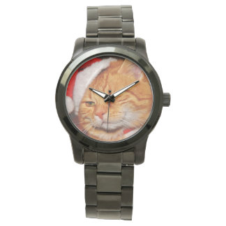 Orange cat - Santa claus cat - merry christmas Watch