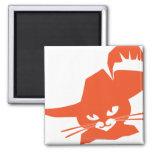 Orange Cat Square Magnet
