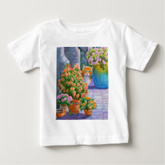 Orange Cat with Flower Pots Baby T-Shirt