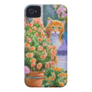 Orange Cat with Flower Pots iPhone 4 Cases