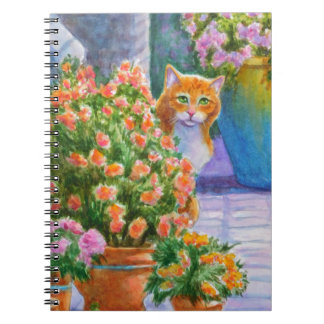 Orange Cat with Flower Pots Note Books
