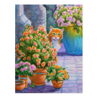 Orange Cat with Flower Pots Postcard