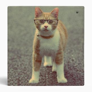 Orange cat with glasses binder