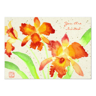 Orange Cattleya Orchids Watercolor Painting Card