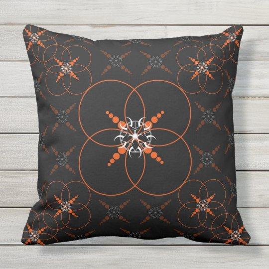 Orange Celtic Crop Circle Throw Pillow