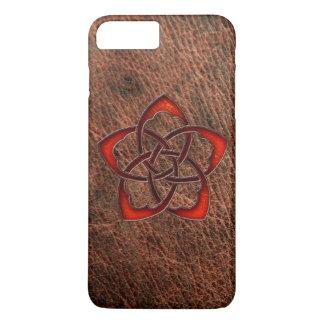 Orange celtic knot flower on genuine leather iPhone 7 plus case