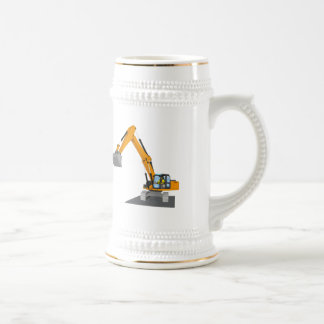 orange chain excavator beer stein