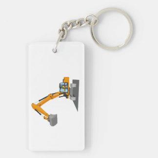 orange chain excavator keychain