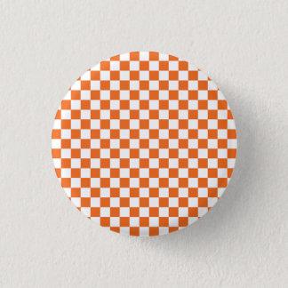 Orange Checkerboard 1 Inch Round Button