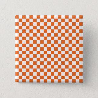 Orange Checkerboard 2 Inch Square Button