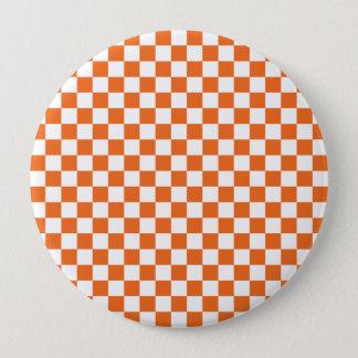 Orange Checkerboard 4 Inch Round Button