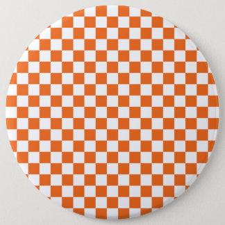 Orange Checkerboard 6 Inch Round Button