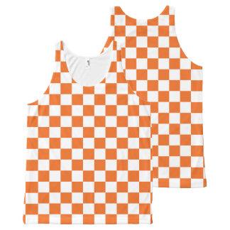 Orange Checkerboard All-Over-Print Tank Top