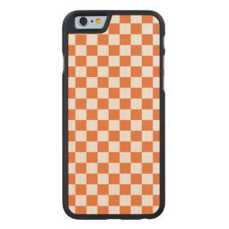 Orange Checkerboard Carved Maple iPhone 6 Case