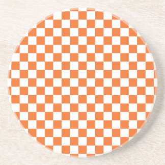 Orange Checkerboard Coaster