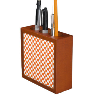 Orange Checkerboard Desk Organizer