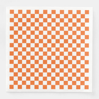 Orange Checkerboard Disposable Napkins