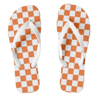 Orange Checkerboard Flip Flops
