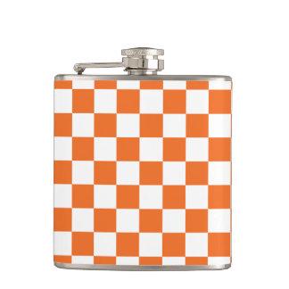 Orange Checkerboard Hip Flask