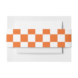 Orange Checkerboard Invitation Belly Band