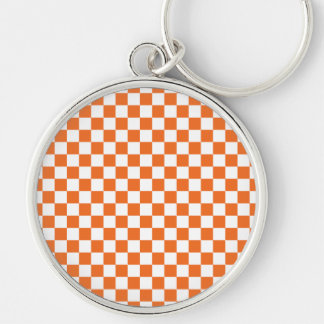 Orange Checkerboard Keychain