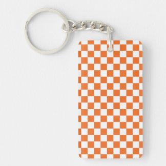 Orange Checkerboard Keychain